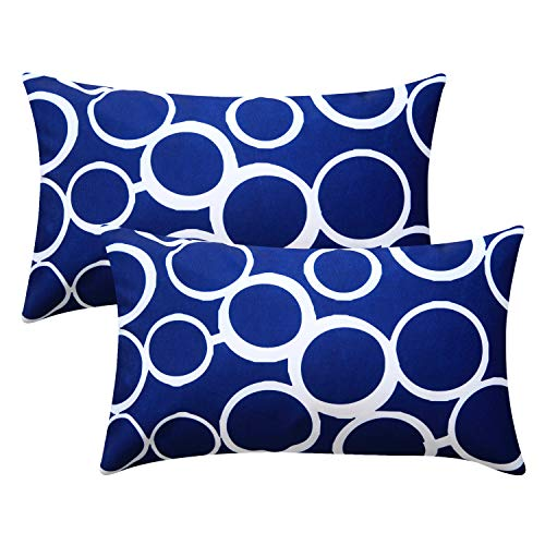 Top Finel Decorative Accent Pillow Covers Durable Canvas Outdoor Cushion Covers 12 x 20 for Couch Sofa Bedroom Car, Pack of 2, Navy Bubble