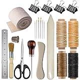Bookbinding Kits, VENCINK Bookbinding Supplies Hand Book Binding Starter Tools Kit with Genuine Bone Folder Creaser, Paper Awl, Large-Eye Needles, Waxed Thead, Binding Ribbon, Glue Brush, Steel Ruler