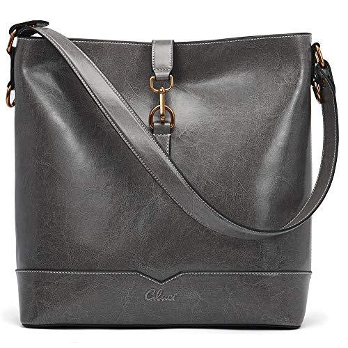 Handbags for Women Oil Wax Leather Purses Designer Bucket Tote Vintage Ladies Top Handle Fashion Shoulder Bag Gray ()