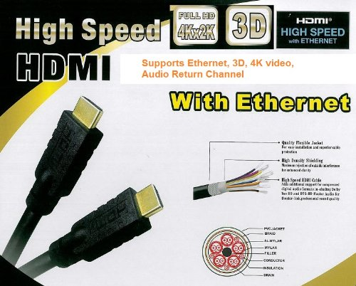PTC 50ft 24AWG Premium GOLD Series CL2 rated High Speed HDMI with Ethernet - Supports 3D, 4K video, Audio Return Channel, Ethernet over HDMI by PTC