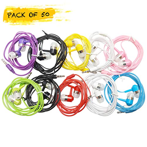 Life.Idea 3.5mm Color Headphones - Pack of 50 Pairs, 8 Assorted Colors, Simple Headphones Earbuds Bulk for iPhone iPad ChromeBook MP3 Library Schools Students Kids (Colored 50 Pack) from Life.Idea
