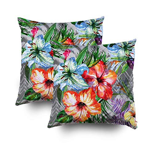 (Kid Pillow Covers,Shorping Zippered Covers Pillowcases 18x18Inch Pack 2 Throw Pillow Covers Floral pattern tropical background Bright watercolor painting illustration on a tribal backdrop grap for Hom)