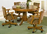 5pc 3-in-1 Game Dining Table & Chairs Set Oak Finish