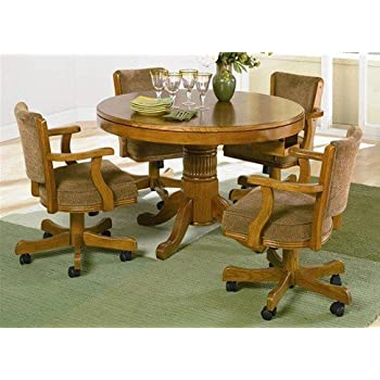 5pc 3 In 1 Game Dining Table Chairs Set Oak Finish