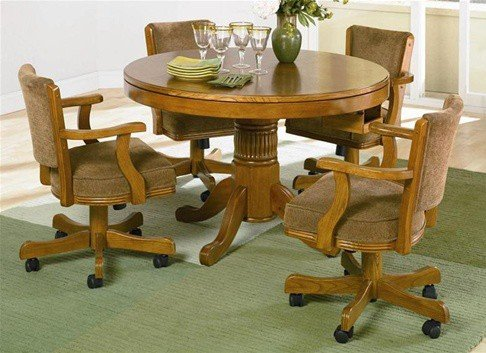Oak Finish Game - 5pc 3-in-1 Game Dining Table & Chairs Set Oak Finish