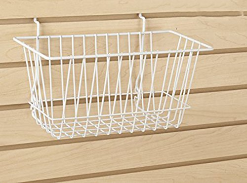 Econoco - White Multi-Fit Narrow Wire Basket for Slatwall, Pegboard or Gridwall (Set of 6) Metal Semi-Gloss Basket, White