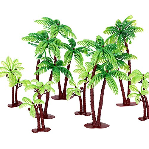 Jovitec 16 Pieces Green Palm Tree Cupcake Topper with Coconuts Cake Topper for Cake Decorations (3.15 inch-14 Pieces, 5.5 inch-2 Pieces)