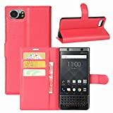 Blackberry Keyone Case, Fettion Premium PU Leather Wallet Flip Phone Protective Case Cover with Card Slots and Magnetic Closure for Blackberry Keyone Smartphone (Wallet - Red)