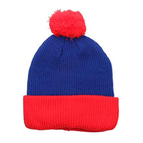 1611MAIN The Two Tone Thick Knitted Cuffed Winter Pom Beanie (Blue/Red)