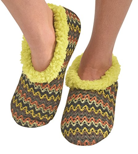 snoozies-womens-wiggle-stripe-comfy-soft-fleece-slipper-socks-yellow-medium