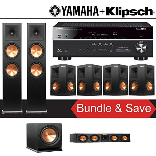 Klipsch Reference Premiere RP-280F 7.1-Ch Home Theater System with Yamaha RX-V683BL 7.2-Ch 4K Network AV Receiver by Klipschhh