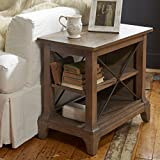 Kenmore Chairside Table with 2 open shelves and metal 2 supports by Birch Lane offers