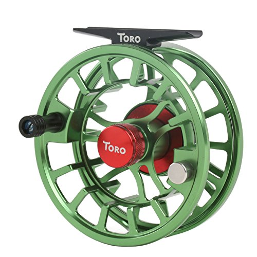 Cheap Maxcatch Toro Series Fly Fishing Reel with Large Arbor, CNC-Machined Aluminum Alloy Body: 3/4, 5/6, 7/8 wt in Blue, Green, or Black (Green, 3/4 wt)