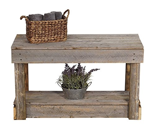 Del Hutson Designs Rustic Barnwood Bench w/Shelf, Reclaimed Wood - Barnwood Bench