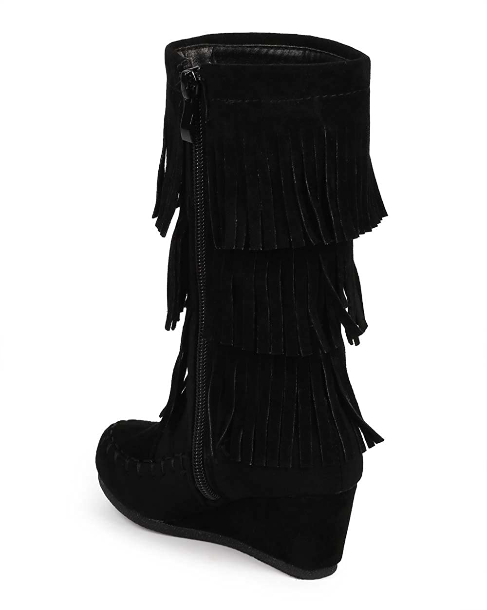 Youth Girl/'s Kid/'s Cute Fringe Flat Wedge Heel Zipper Boots Shoes Size 9-4 NEW