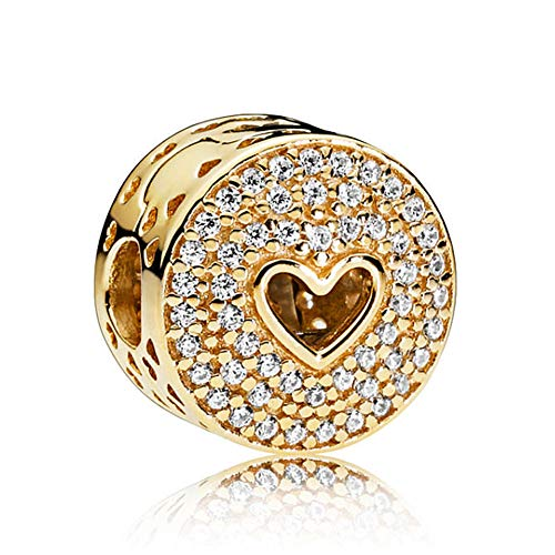 Romántico Amor Dazzling Heart Clip Stopper Charm Gold Clear CZ Silver Bead fit Pandora Bracelets (Gold Pandora Charm)