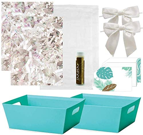 Pursito Gift Basket Making Kit 7 X 5 X 3 Includes: Turquoise Teal Market Tray Crinkle Cut Paper Cellophane Bag White Bows & Gift Tags - 2 Sets Wedding Christmas & Birthday Gifts