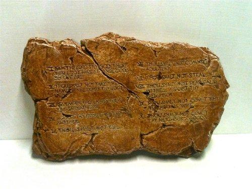 (Religious Cast Stone Ten Commandments Garden Plaque Decorative Christmas Gift Terracotta Finish)