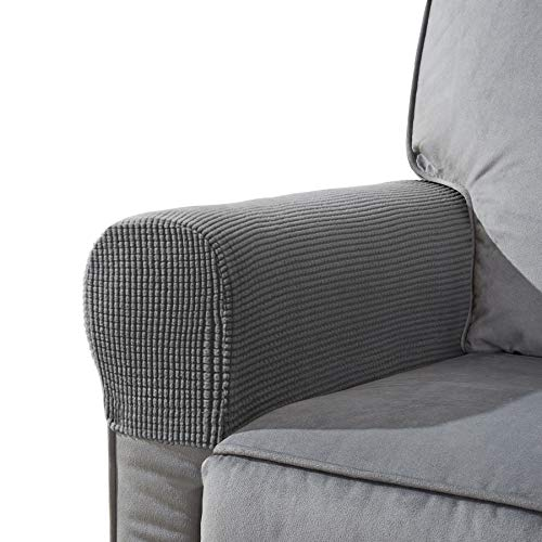CHUN YI Set of 2 Stretch Polyester Sofa Armchair Armrest Covers Slipcovers Furniture Protector Spandex Fabric Jacquard Anti-Stain Washable Couch Arm Cover Slipcover (Armrest, Light Gray)