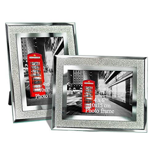Amazing Roo 2 Pack 4x6 Glass Picture Frame Tabletop Display 4 X 6 Inch Photo Crystal Mirrored - Crystal Frame Photo