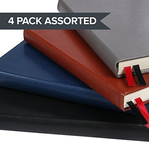 A5 Hardcover Lined Ruled Notebook Journal, 259 Numbered Pages, 2 Bookmarks, 4 Page Index, Bujo Lines Pages (4 Pack Lined, 4 Pack Assorted) (4 Page Layout)