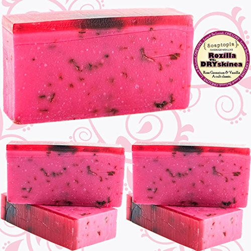 SOAPTOPIA – Organic Handmade Bar Soap for Face, Body, and Hands – Scented with Vanilla Rose Geranium Essential Oils to Detoxify Deep Clean – Rozilla vs. DRYskinea 5-6.5 oz bars