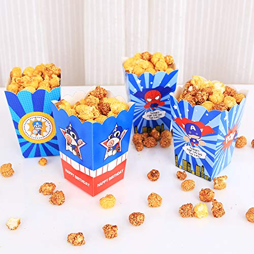 Astra Gourmet Superhero Theme Baby Shower or Birthday Party Favor Popcorn Treat Boxes - Set of 24(Captain & -