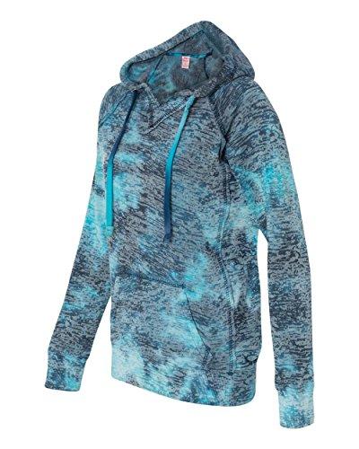 (Weatherproof W1162 Ladies' Burnout Hooded Pullover Blend Fleece - Caribean Wave -)