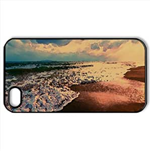 Shore Waves Watercolor style Cover iPhone 4 and 4S Case (Summer Watercolor style Cover iPhone 4 and 4S Case)