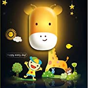 Giraffe Design Night Light Lamp by Little Lamby, with 2 Electrical Plug Covers - LED powered for Baby and Toddlers, Perfect for Bedside Table or Bathrooms, Electrically Powered.