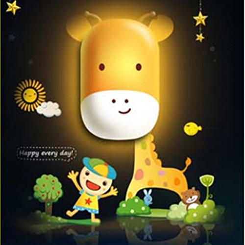 Infant Giraffe Lamp (Giraffe Design Night Light Lamp by Little Lamby, with 2 Electrical Plug Covers - LED powered for Baby and Toddlers, Perfect for Bedside Table or Bathrooms, Electrically Powered.)