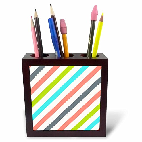 (3dRose Anne Marie Baugh - Stripes - Pink, Green, Aqua, Gray Diagonal Stripes Pattern - 5 inch tile pen holder (ph_266636_1))
