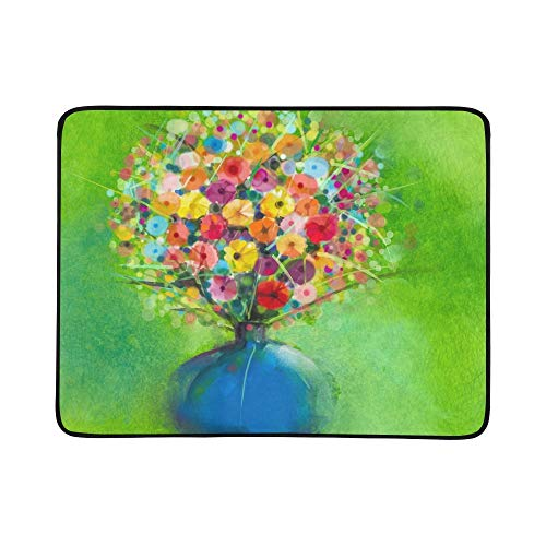 (GIRLOS Abstract Art Watercolor Painting Spring Flower Stock Illustration Pattern Portable and Foldable Blanket Mat 60x78 Inch Handy Mat for Camping Picnic Beach Indoor Outdoor Travel)