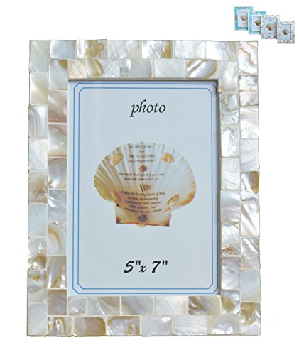 GIFTME 5 Mother of Pearl Photo Frame,Beach Picture Frame (5x7, Natural White)