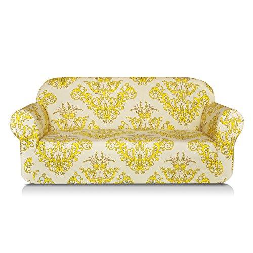 TIKAMI 1-Piece Spandex Printed Fit Stretch Sofa Slipcovers (Sofa, Yellow)