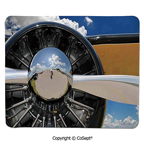 Quality Selection Comfortable Mouse Pad,Propeller and Engine of Airplane Clouds Flight Historic Metal Oldwar Bird Transport Decorative,Water-Resistant,Non-Slip Base,Ideal for Gaming (7.87