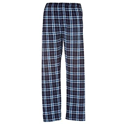 Navy Blue Light Blue Plaid Check Classic Cut Flannel Pants, XLarge for sale
