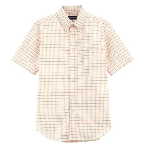 パッチ回る放棄するBONMAX ユニセックス ボタンダウンシャツ(半袖) FB487U-13 オレンジチェック 4L