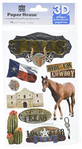 Paper House Productions STDM-0086E 3D Cardstock Stickers, Texas -