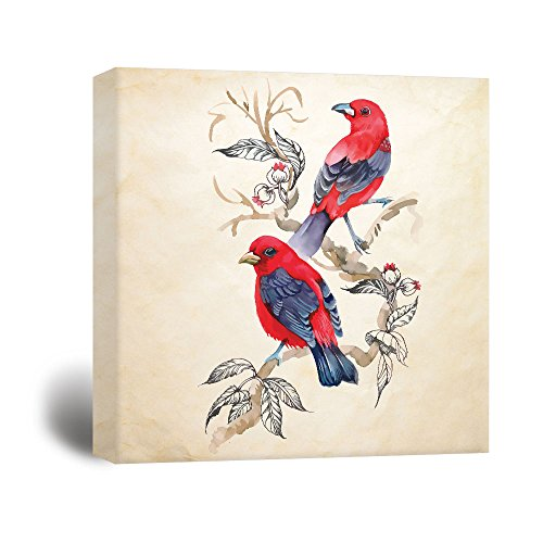 Square Watercolor Painting of Two Red Brids on Flower Tree Branch