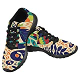 InterestPrint Women's Jogging Running Sneaker Lightweight Go Easy Walking Casual Comfort Running Shoes Size 8 Colorful Tropical Backdrop with Animals