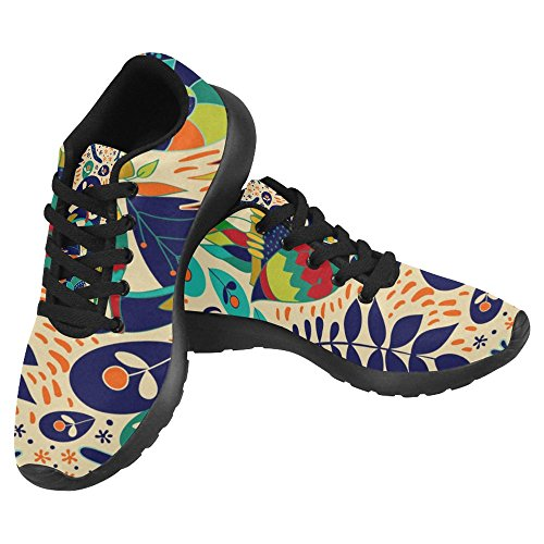 InterestPrint Women's Jogging Running Sneaker Lightweight Go Easy Walking Casual Comfort Running Shoes Size 6 Colorful Tropical Backdrop with Animals