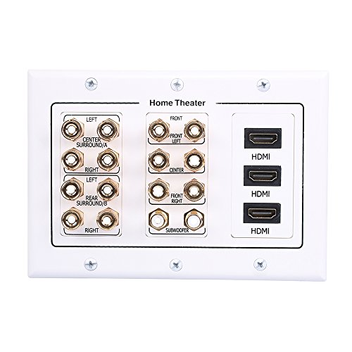 HONGYE 7.2 Speaker Wall Plate, Premium Gold Plated Banana...
