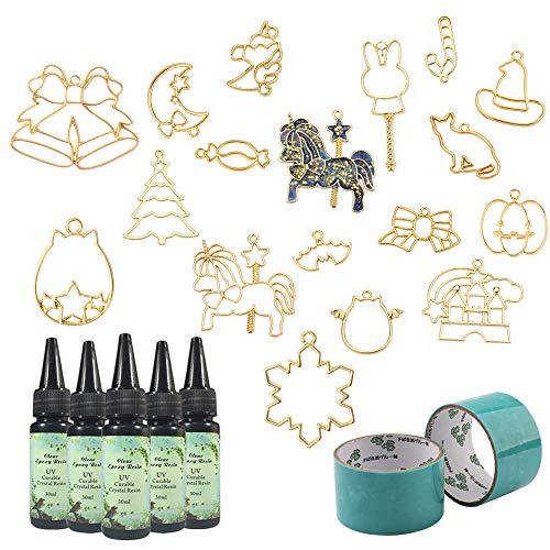 5 Piezas 30ML Cristal Resina Epoxi 17 Joyas de metal con sombrero mágico, Cabeza de calabaza, Alas Demonio, Dulces, Gato,...