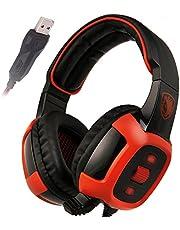 SADES SA906 7.1 Stereo Surround Sound Pro USB de la PC Gaming Headset Sobre-Oído de la venda de los auriculares de alta fidelidad con la función de vibración del micrófono Control de volumen remoto de iluminación LED rojo (Negro)