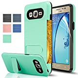 Galaxy On5 Case With HD Screen Protector,[Card Slots Holder][Not Wallet] Kickstand Hard Plastic PC TPU Soft Hybrid Shockproof Heavy Duty Protective Holster For Samsung Galaxy On5/G550 KC1 Mint
