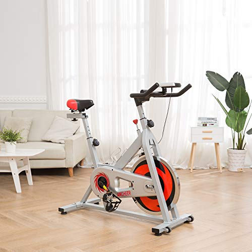 ANCHEER Stationary Bike, Indoor Cycling Exercise Bike 40 LBS Flywheel (Sliver_NO Pulse) by ANCHEER (Image #1)