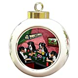 Home of Greater Swiss Mountain 4 Dogs Playing Poker Round Ball Christmas Ornament