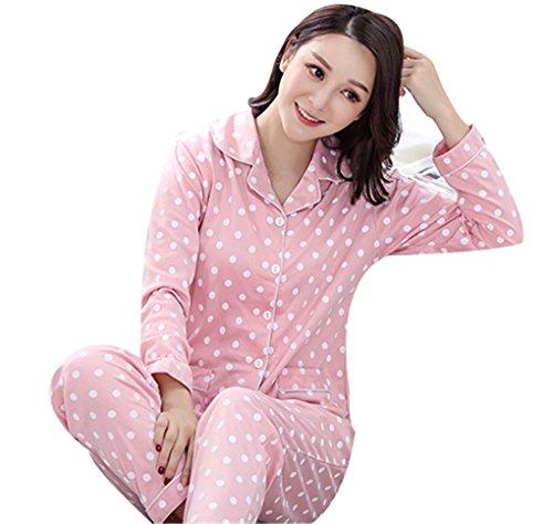 design Set con da pigiama Pigiameria maniche bianchi colorato rosa Top a Punti bottoni donna lunghe e Naughtyspicy pantaloni 5PwOfYq7