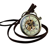 Bronze Case Necklace Mechanical Pocket Watch Pendant Hand-Winding Open Face Mens